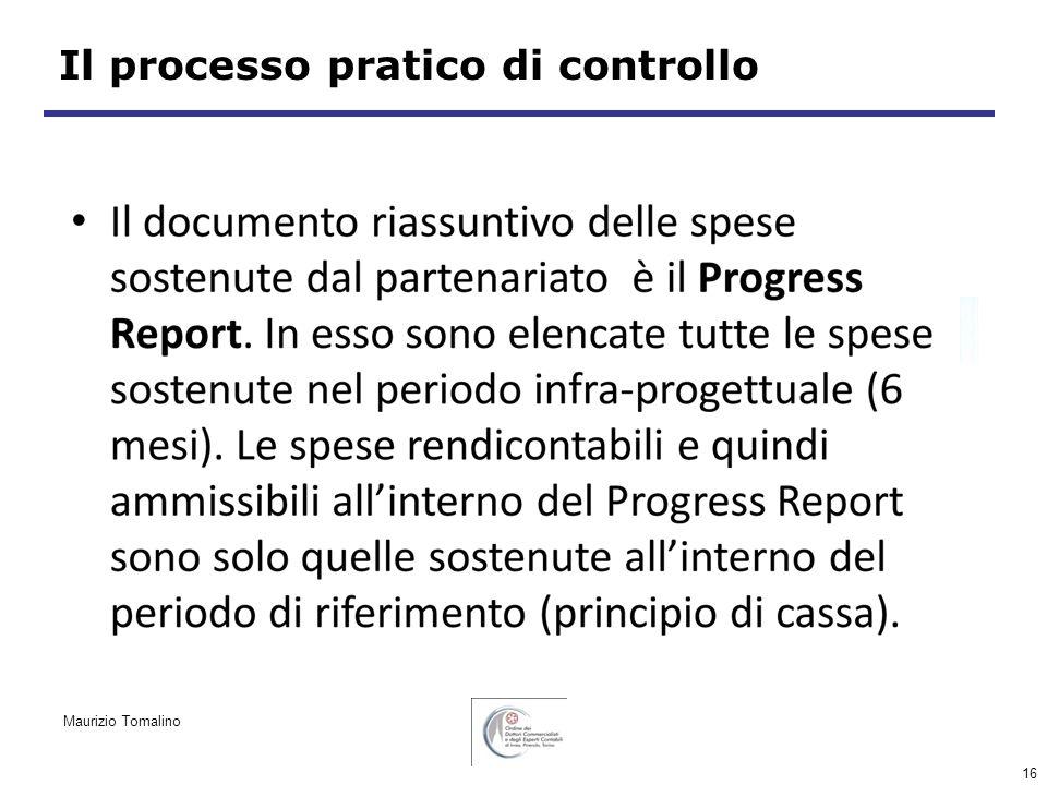 16 Il processo pratico di controllo Maurizio Tomalino