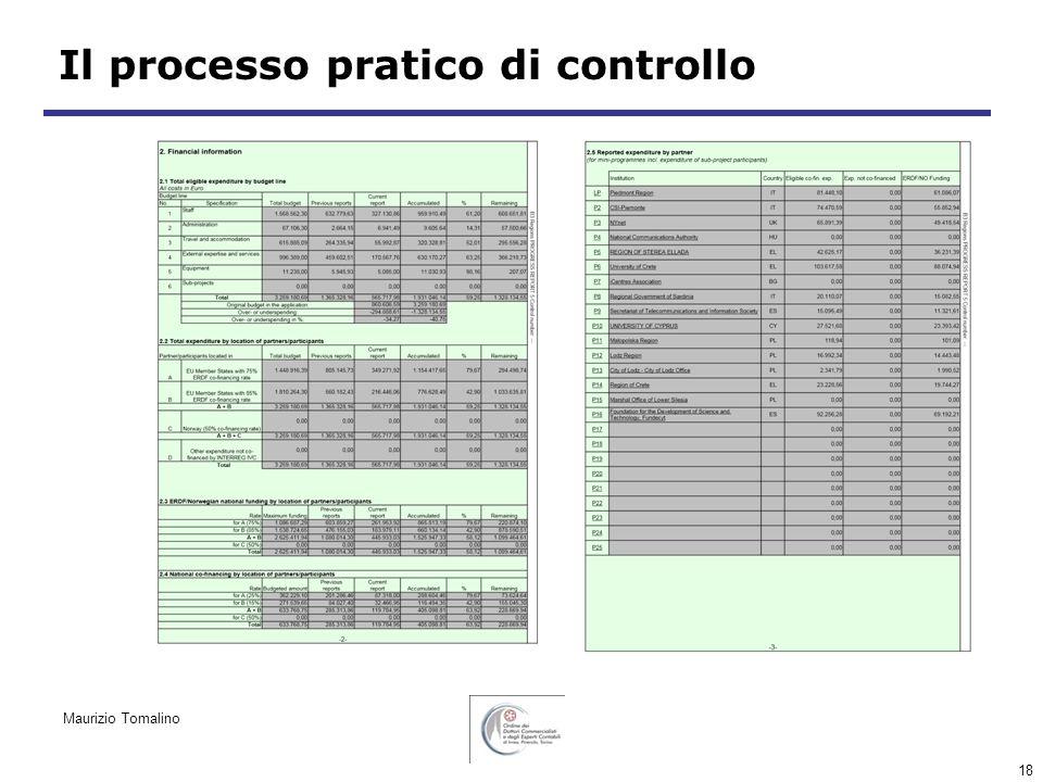 18 Il processo pratico di controllo Maurizio Tomalino