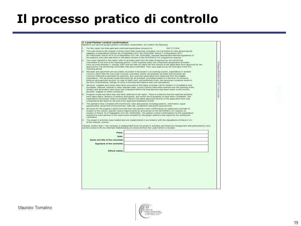 19 Il processo pratico di controllo Maurizio Tomalino