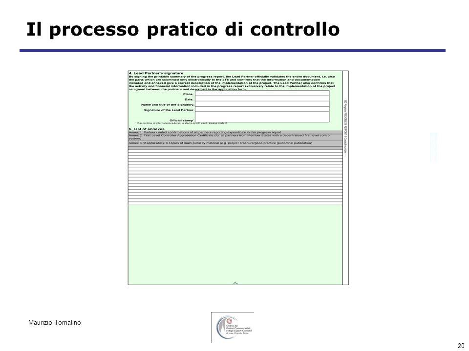 20 Il processo pratico di controllo Maurizio Tomalino