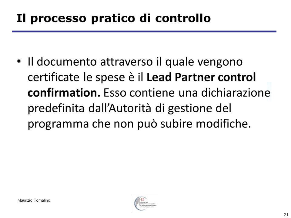 21 Il processo pratico di controllo Maurizio Tomalino
