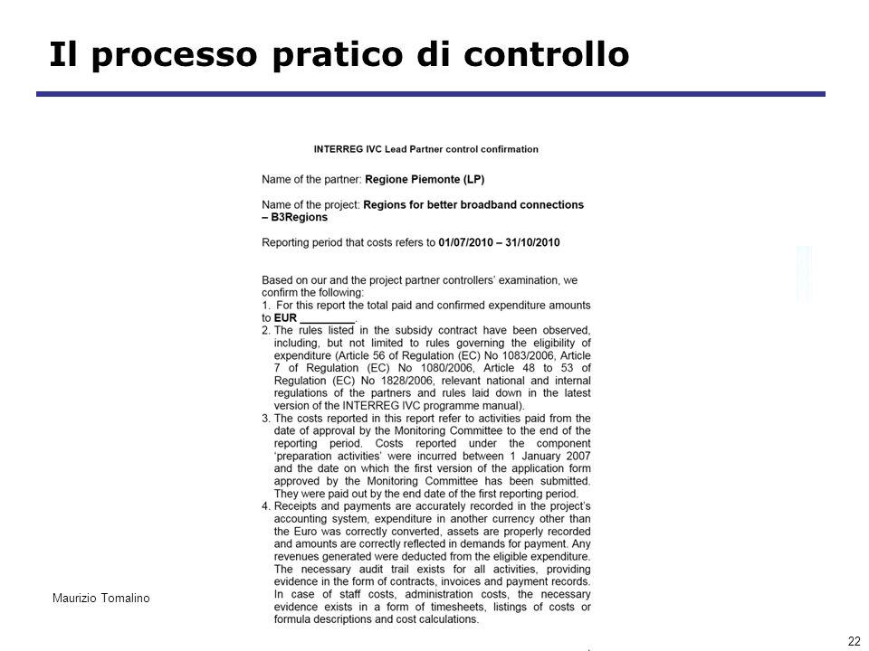 22 Il processo pratico di controllo Maurizio Tomalino