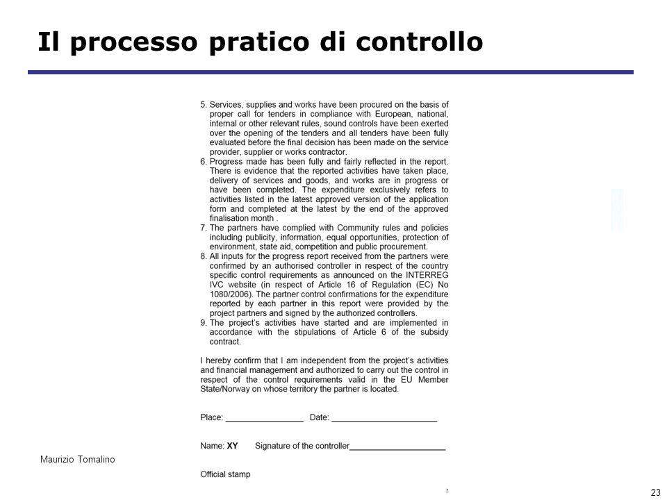 23 Il processo pratico di controllo Maurizio Tomalino