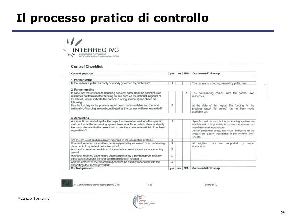25 Il processo pratico di controllo Maurizio Tomalino