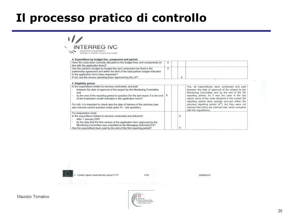 26 Il processo pratico di controllo Maurizio Tomalino