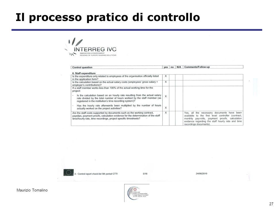 27 Il processo pratico di controllo Maurizio Tomalino