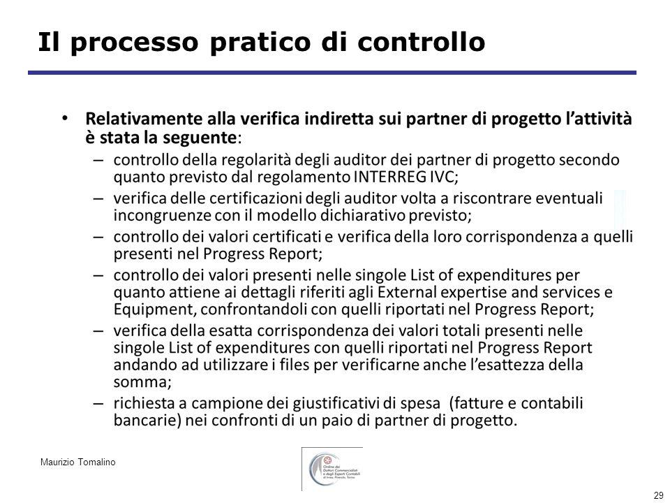 29 Il processo pratico di controllo Maurizio Tomalino