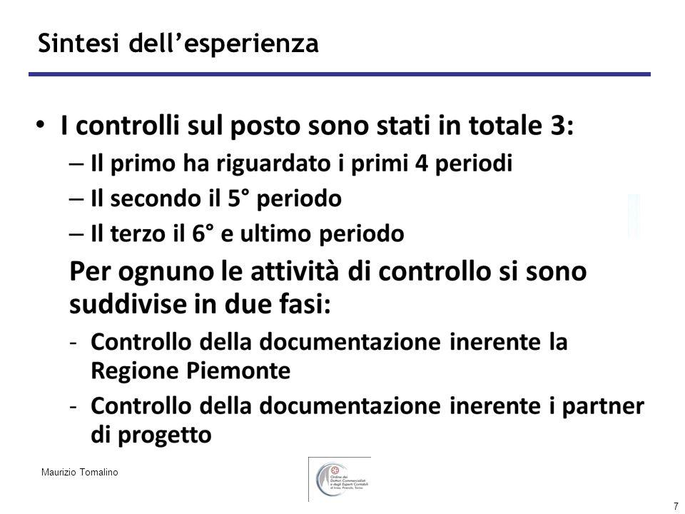 7 Sintesi dellesperienza Maurizio Tomalino