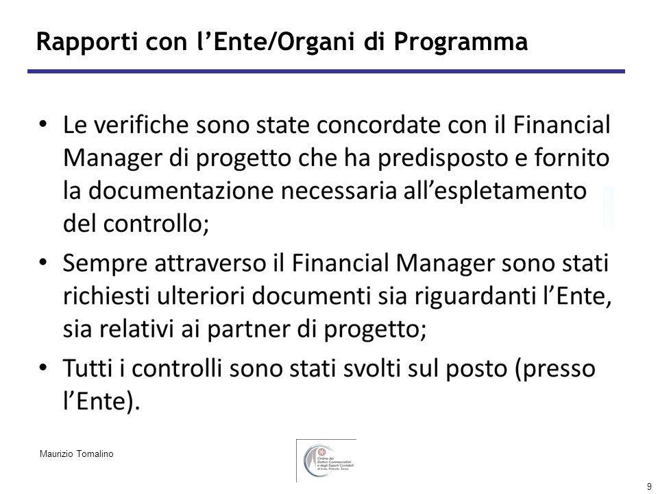 9 Rapporti con lEnte/Organi di Programma Maurizio Tomalino