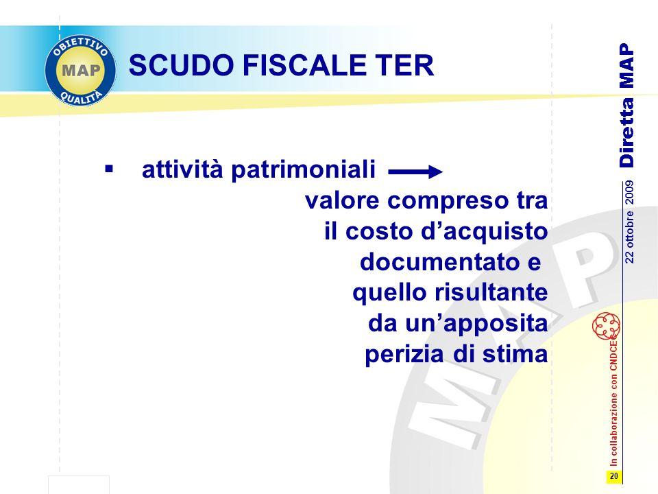 20 22 ottobre 2009 Diretta MAP In collaborazione con CNDCEC SCUDO FISCALE TER attività patrimoniali valore compreso tra il costo dacquisto documentato e quello risultante da unapposita perizia di stima
