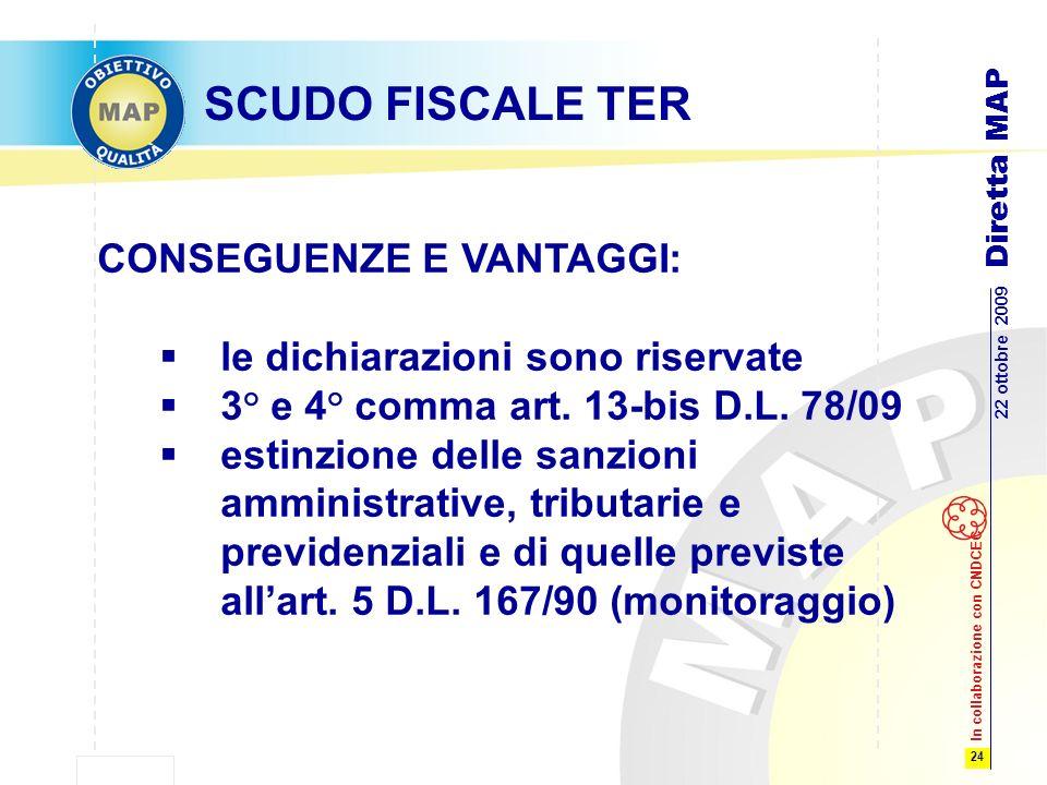 24 22 ottobre 2009 Diretta MAP In collaborazione con CNDCEC SCUDO FISCALE TER CONSEGUENZE E VANTAGGI: le dichiarazioni sono riservate 3° e 4° comma art.