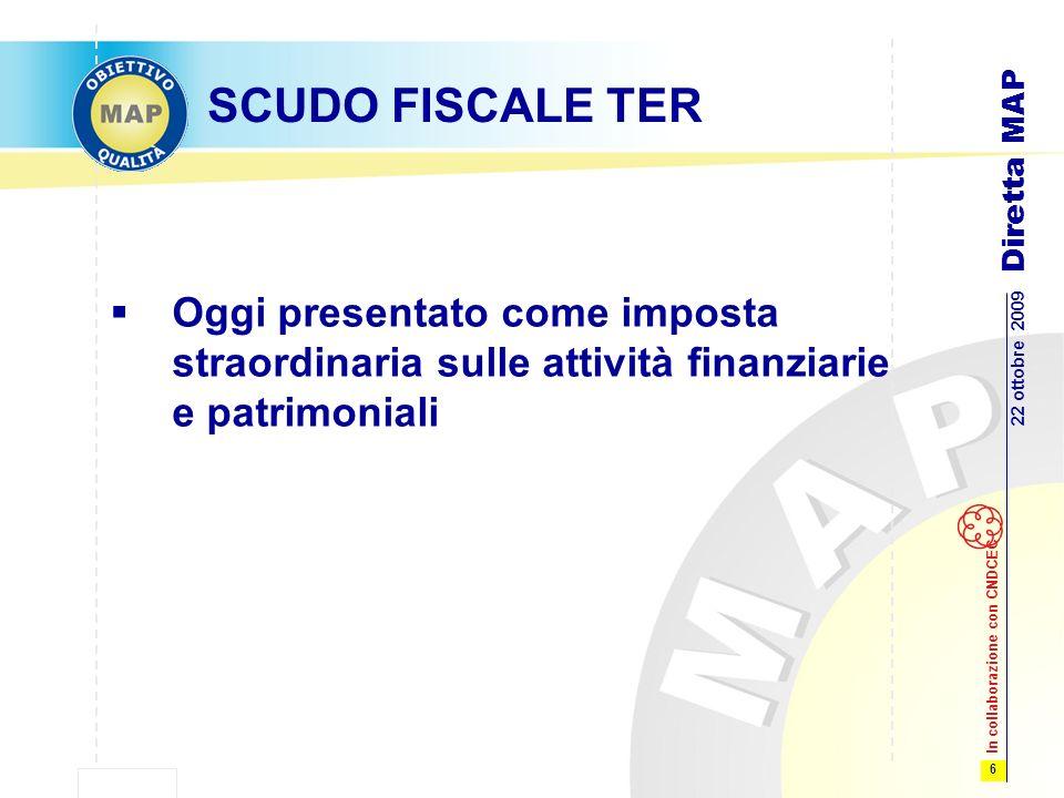 6 22 ottobre 2009 Diretta MAP In collaborazione con CNDCEC SCUDO FISCALE TER Oggi presentato come imposta straordinaria sulle attività finanziarie e patrimoniali
