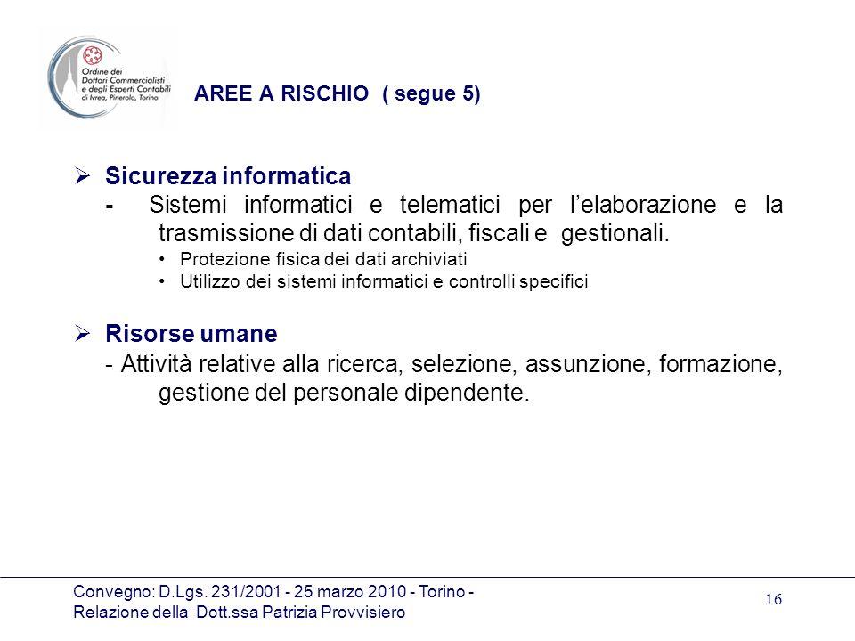 Convegno: D.Lgs. 231/2001 - 25 marzo 2010 - Torino - Relazione della Dott.ssa Patrizia Provvisiero 16 AREE A RISCHIO ( segue 5) Sicurezza informatica