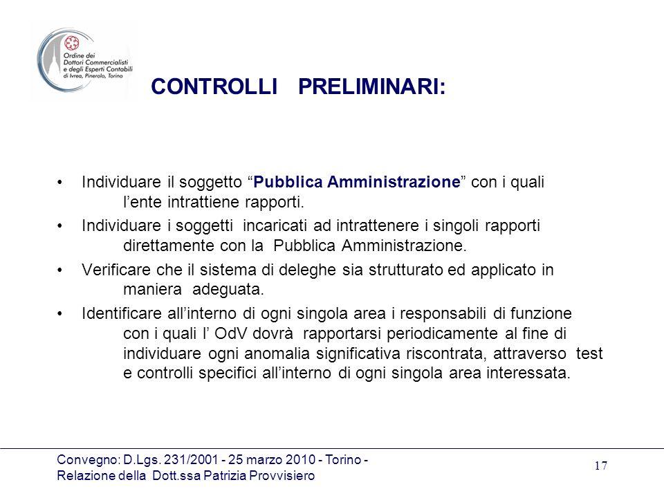 Convegno: D.Lgs. 231/2001 - 25 marzo 2010 - Torino - Relazione della Dott.ssa Patrizia Provvisiero 17 CONTROLLI PRELIMINARI: Individuare il soggetto P