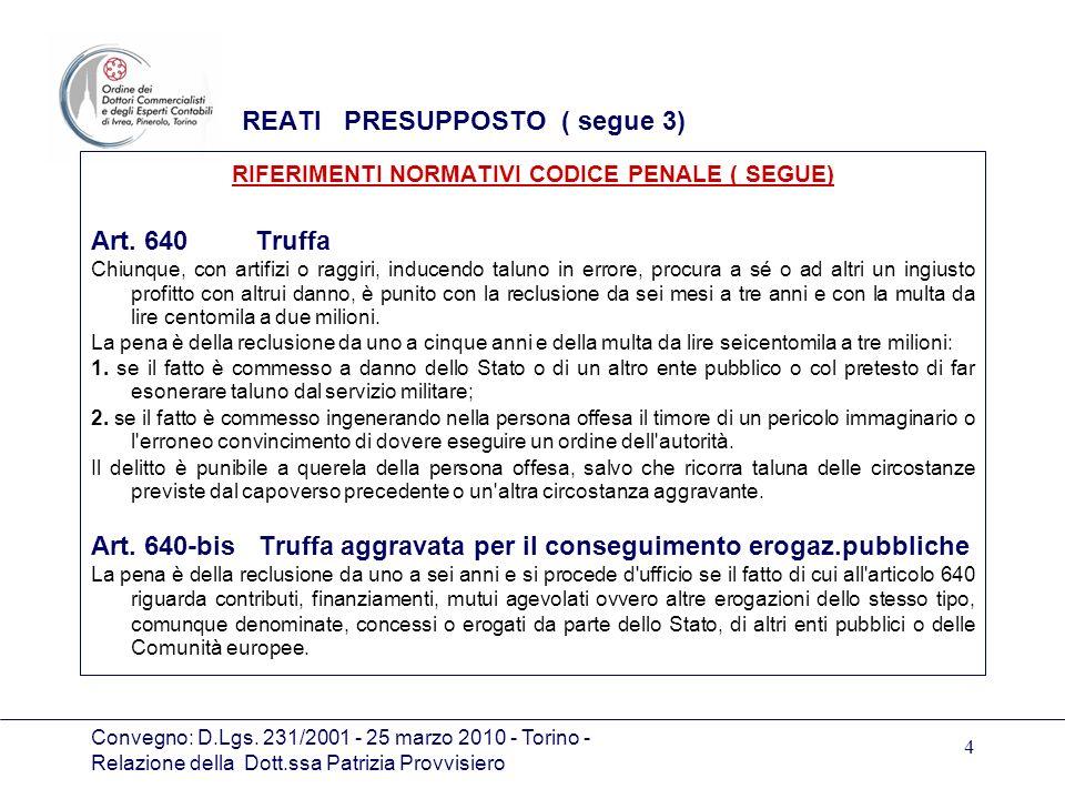 Convegno: D.Lgs. 231/2001 - 25 marzo 2010 - Torino - Relazione della Dott.ssa Patrizia Provvisiero 4 REATI PRESUPPOSTO ( segue 3) RIFERIMENTI NORMATIV