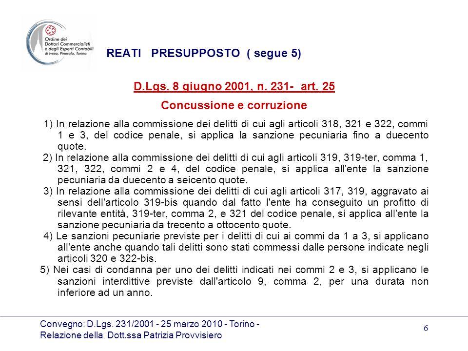 Convegno: D.Lgs. 231/2001 - 25 marzo 2010 - Torino - Relazione della Dott.ssa Patrizia Provvisiero 6 REATI PRESUPPOSTO ( segue 5) D.Lgs. 8 giugno 2001