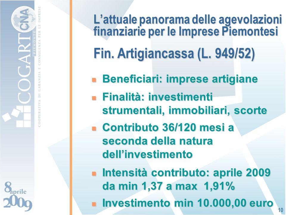 Lattuale panorama delle agevolazioni finanziarie per le Imprese Piemontesi Beneficiari: imprese artigiane Beneficiari: imprese artigiane 10 Finalità: investimenti strumentali, immobiliari, scorte Finalità: investimenti strumentali, immobiliari, scorte Intensità contributo: aprile 2009 da min 1,37 a max 1,91% Intensità contributo: aprile 2009 da min 1,37 a max 1,91% Contributo 36/120 mesi a seconda della natura dellinvestimento Contributo 36/120 mesi a seconda della natura dellinvestimento Investimento min 10.000,00 euro Investimento min 10.000,00 euro Fin.