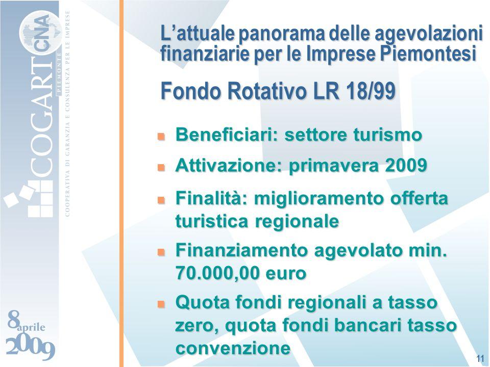 Lattuale panorama delle agevolazioni finanziarie per le Imprese Piemontesi Beneficiari: settore turismo Beneficiari: settore turismo Attivazione: primavera 2009 Attivazione: primavera 2009 Finanziamento agevolato min.