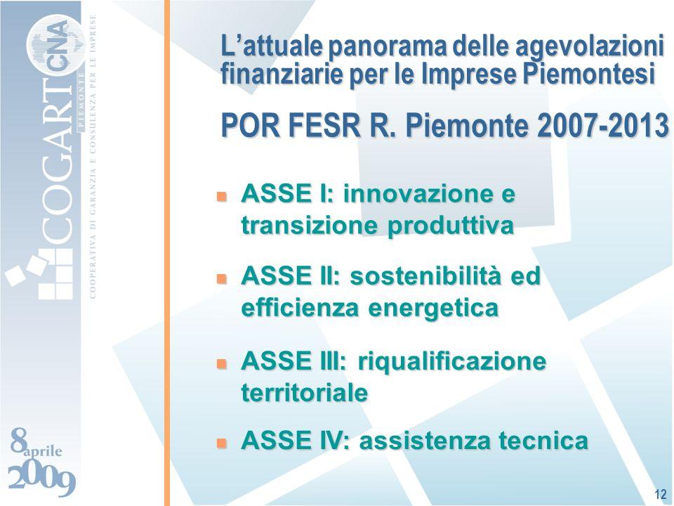 Lattuale panorama delle agevolazioni finanziarie per le Imprese Piemontesi ASSE I: innovazione e transizione produttiva ASSE I: innovazione e transizione produttiva 12 ASSE II: sostenibilità ed efficienza energetica ASSE II: sostenibilità ed efficienza energetica ASSE IV: assistenza tecnica ASSE IV: assistenza tecnica ASSE III: riqualificazione territoriale ASSE III: riqualificazione territoriale POR FESR R.