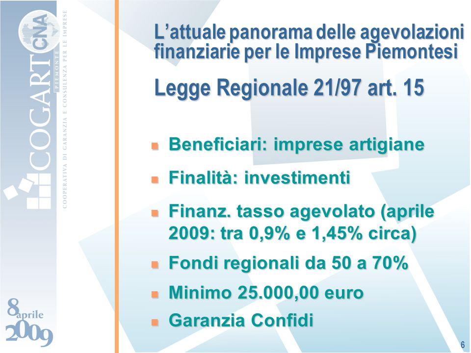Lattuale panorama delle agevolazioni finanziarie per le Imprese Piemontesi Beneficiari: imprese artigiane Beneficiari: imprese artigiane 6 Finalità: investimenti Finalità: investimenti Fondi regionali da 50 a 70% Fondi regionali da 50 a 70% Finanz.