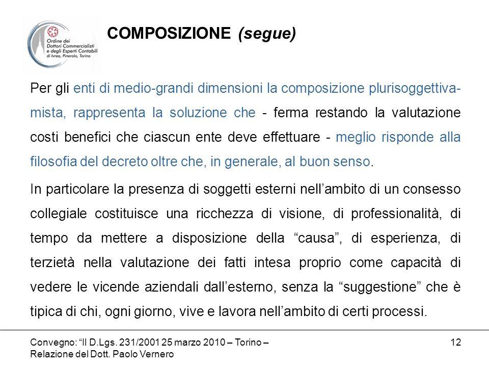 Convegno: Il D.Lgs. 231/2001 25 marzo 2010 – Torino – Relazione del Dott. Paolo Vernero 12 Per gli enti di medio-grandi dimensioni la composizione plu