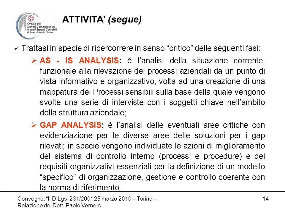 Convegno: Il D.Lgs. 231/2001 25 marzo 2010 – Torino – Relazione del Dott. Paolo Vernero 14 Trattasi in specie di ripercorrere in senso critico delle s