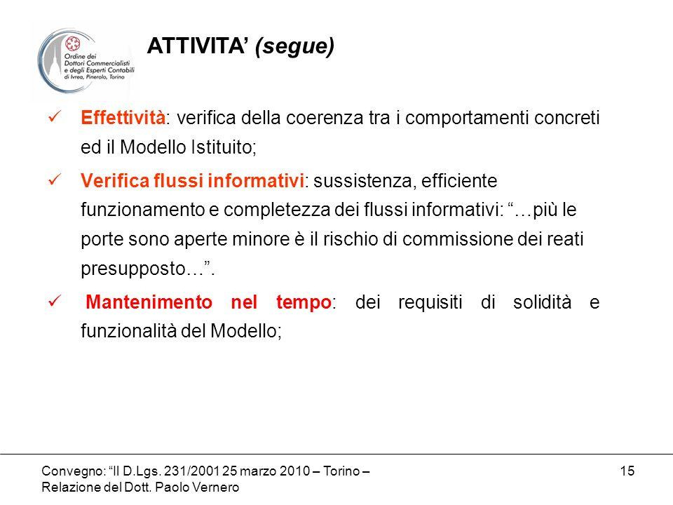 Convegno: Il D.Lgs. 231/2001 25 marzo 2010 – Torino – Relazione del Dott. Paolo Vernero 15 Effettività: verifica della coerenza tra i comportamenti co