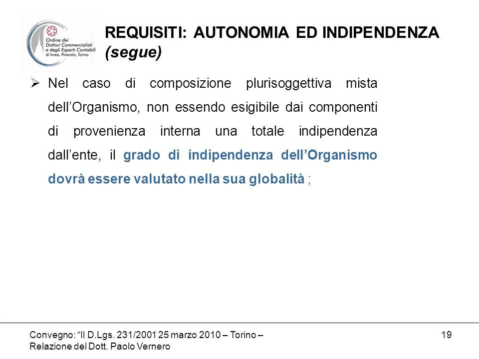 Convegno: Il D.Lgs. 231/2001 25 marzo 2010 – Torino – Relazione del Dott. Paolo Vernero 19 Nel caso di composizione plurisoggettiva mista dellOrganism