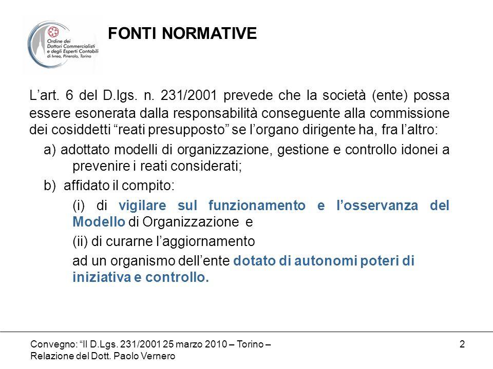 Convegno: Il D.Lgs. 231/2001 25 marzo 2010 – Torino – Relazione del Dott. Paolo Vernero 2 Lart. 6 del D.lgs. n. 231/2001 prevede che la società (ente)