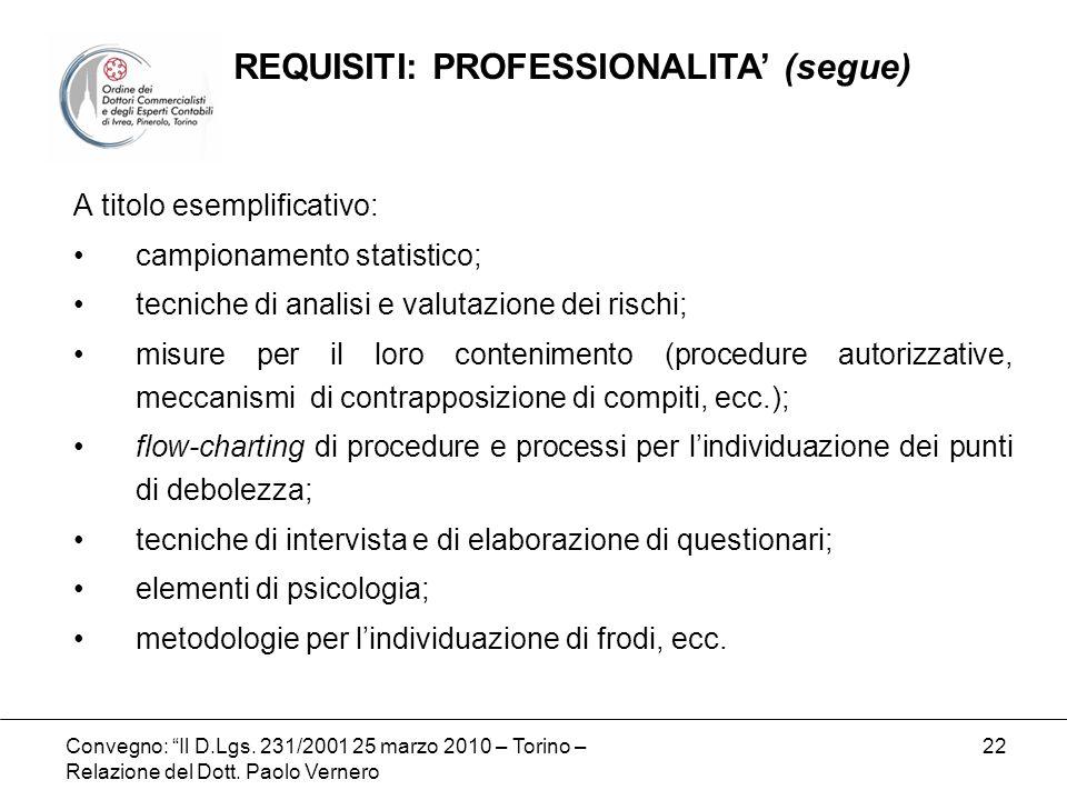 Convegno: Il D.Lgs. 231/2001 25 marzo 2010 – Torino – Relazione del Dott. Paolo Vernero 22 A titolo esemplificativo: campionamento statistico; tecnich