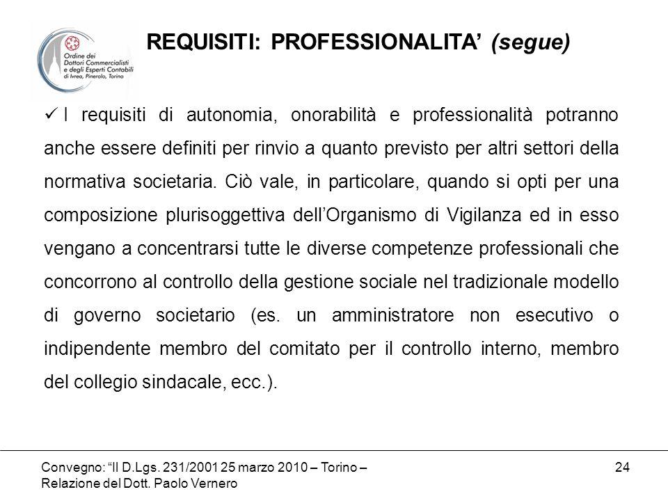 Convegno: Il D.Lgs. 231/2001 25 marzo 2010 – Torino – Relazione del Dott. Paolo Vernero 24 I requisiti di autonomia, onorabilità e professionalità pot