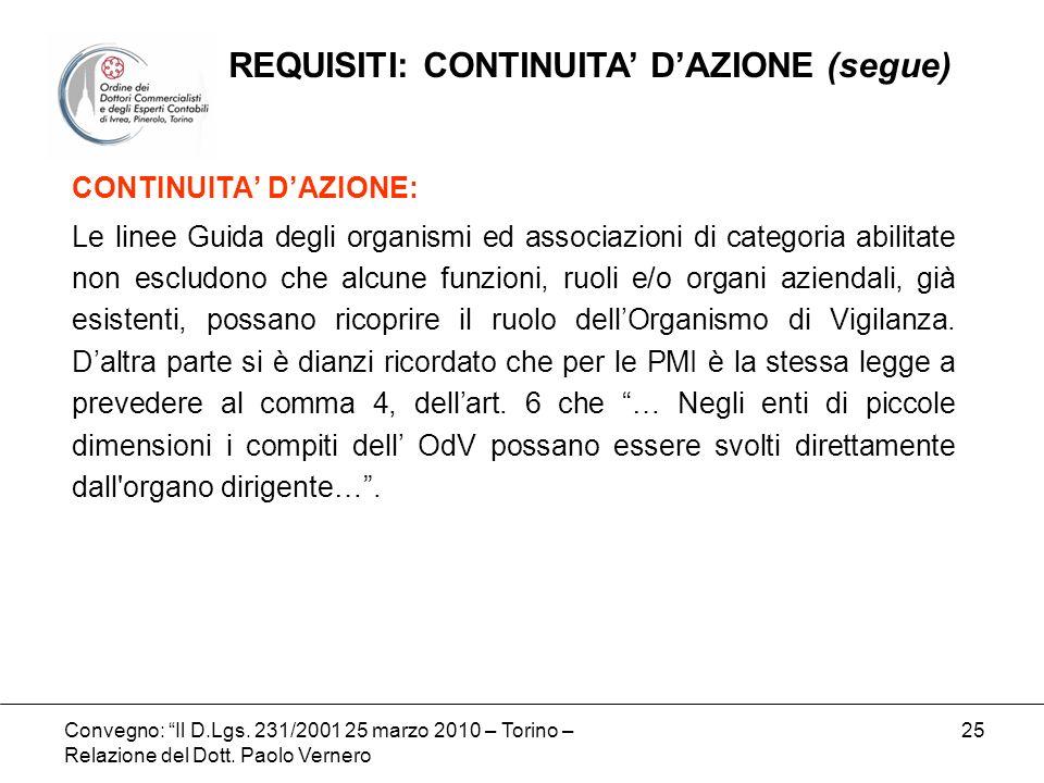 Convegno: Il D.Lgs. 231/2001 25 marzo 2010 – Torino – Relazione del Dott. Paolo Vernero 25 CONTINUITA DAZIONE: Le linee Guida degli organismi ed assoc