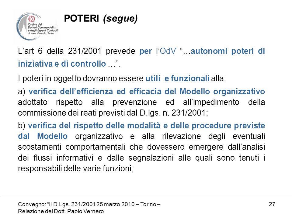 Convegno: Il D.Lgs. 231/2001 25 marzo 2010 – Torino – Relazione del Dott. Paolo Vernero 27 Lart 6 della 231/2001 prevede per lOdV …autonomi poteri di