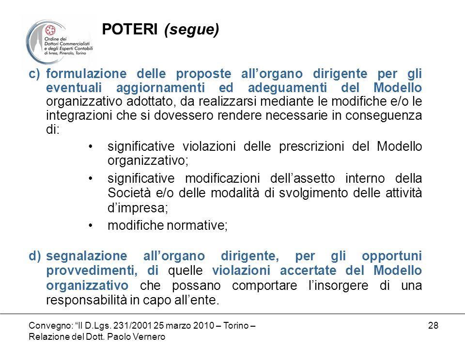 Convegno: Il D.Lgs. 231/2001 25 marzo 2010 – Torino – Relazione del Dott. Paolo Vernero 28 c)formulazione delle proposte allorgano dirigente per gli e