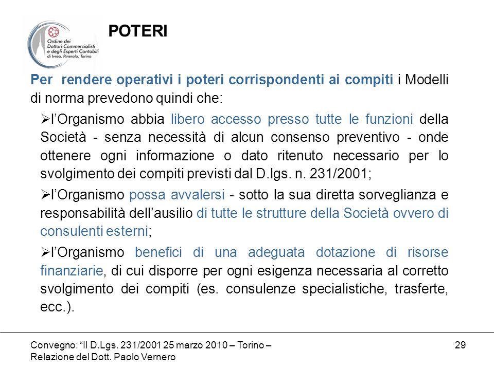Convegno: Il D.Lgs. 231/2001 25 marzo 2010 – Torino – Relazione del Dott. Paolo Vernero 29 Per rendere operativi i poteri corrispondenti ai compiti i