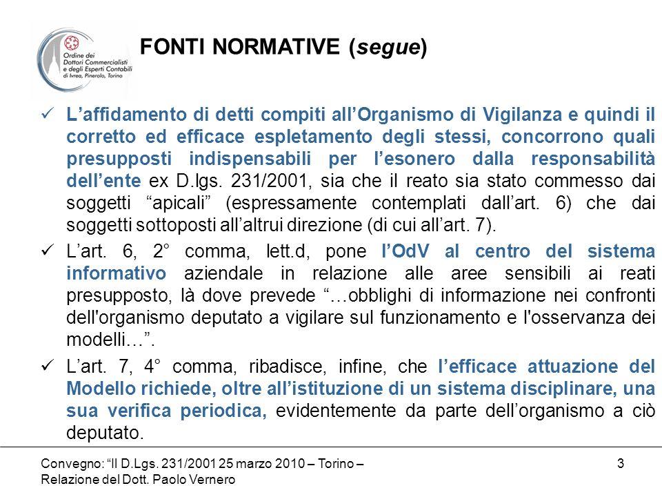Convegno: Il D.Lgs. 231/2001 25 marzo 2010 – Torino – Relazione del Dott. Paolo Vernero 3 Laffidamento di detti compiti allOrganismo di Vigilanza e qu
