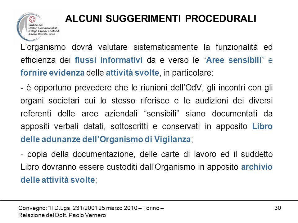 Convegno: Il D.Lgs. 231/2001 25 marzo 2010 – Torino – Relazione del Dott. Paolo Vernero 30 Lorganismo dovrà valutare sistematicamente la funzionalità