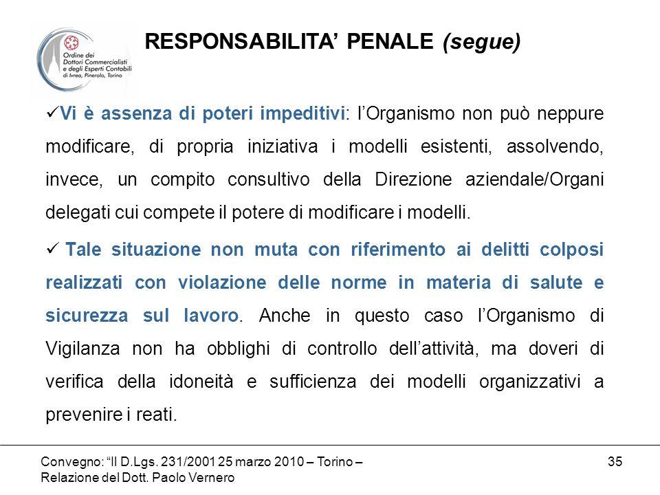 Convegno: Il D.Lgs. 231/2001 25 marzo 2010 – Torino – Relazione del Dott. Paolo Vernero 35 Vi è assenza di poteri impeditivi: lOrganismo non può neppu