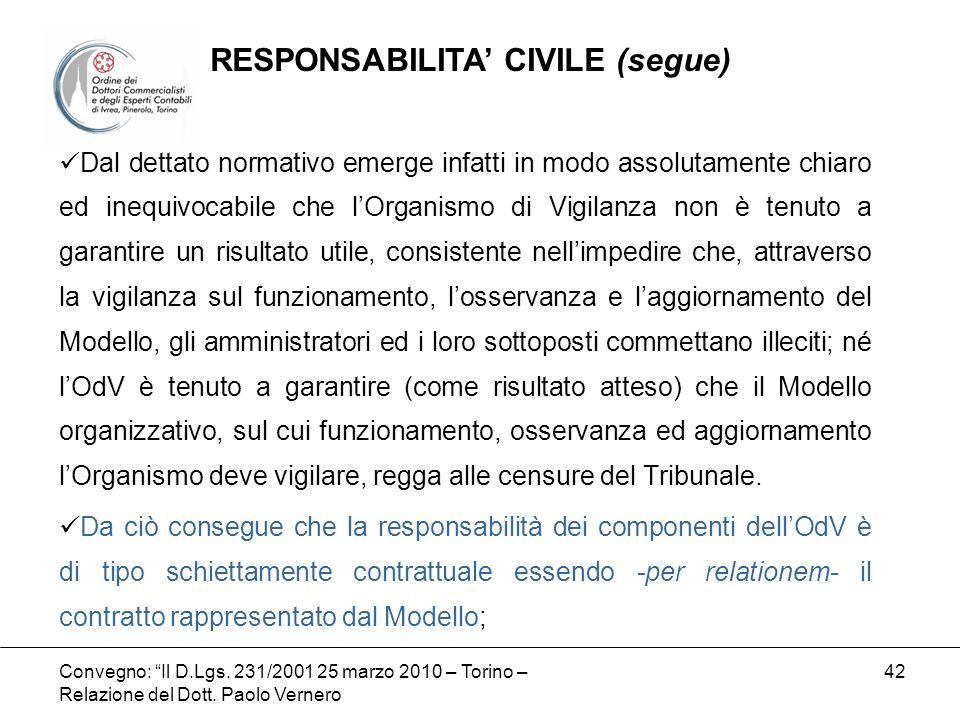 Convegno: Il D.Lgs. 231/2001 25 marzo 2010 – Torino – Relazione del Dott. Paolo Vernero 42 Dal dettato normativo emerge infatti in modo assolutamente