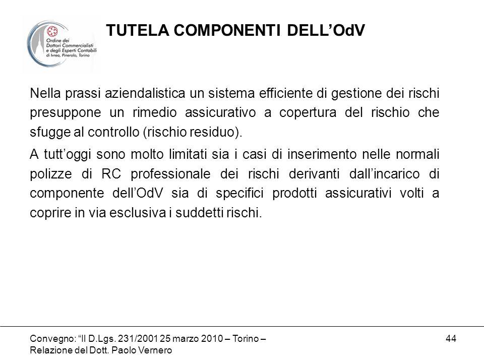 Convegno: Il D.Lgs. 231/2001 25 marzo 2010 – Torino – Relazione del Dott. Paolo Vernero 44 Nella prassi aziendalistica un sistema efficiente di gestio
