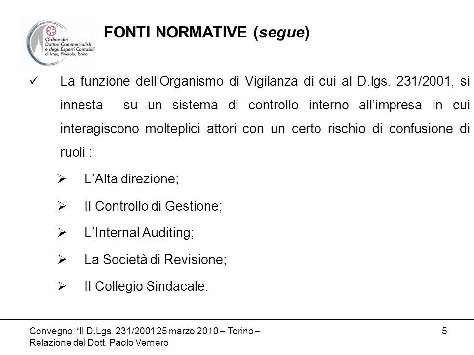 Convegno: Il D.Lgs. 231/2001 25 marzo 2010 – Torino – Relazione del Dott. Paolo Vernero 5 La funzione dellOrganismo di Vigilanza di cui al D.lgs. 231/