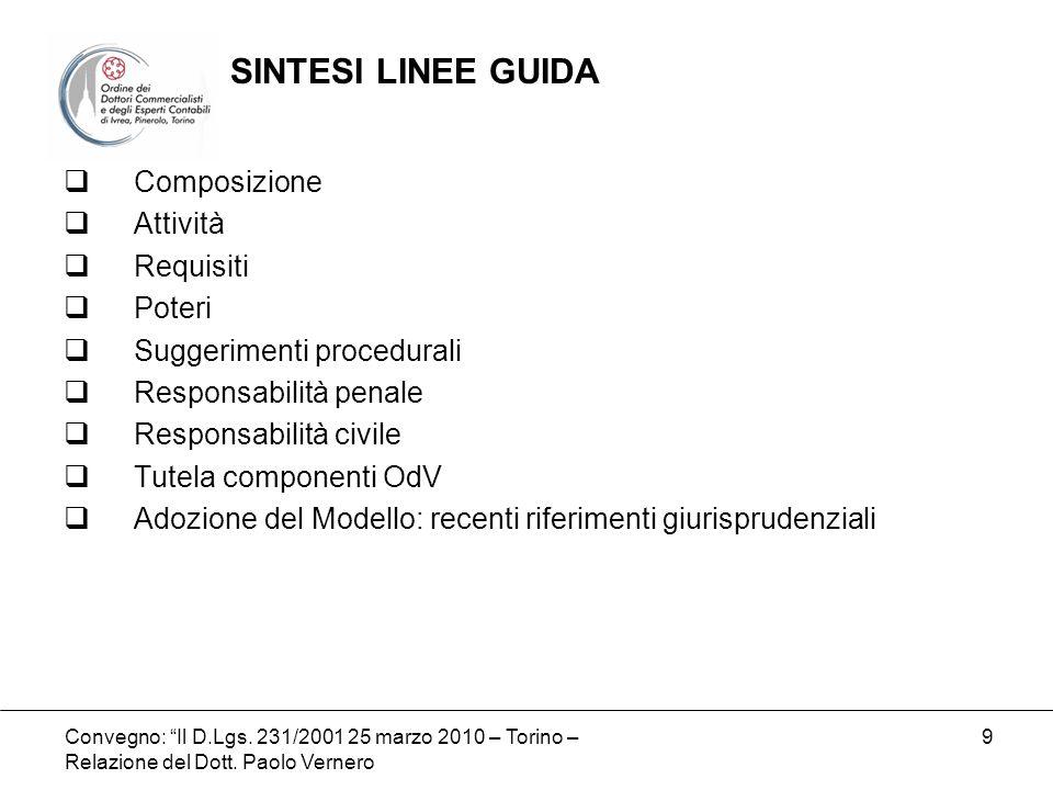 Convegno: Il D.Lgs. 231/2001 25 marzo 2010 – Torino – Relazione del Dott. Paolo Vernero 9 Composizione Attività Requisiti Poteri Suggerimenti procedur