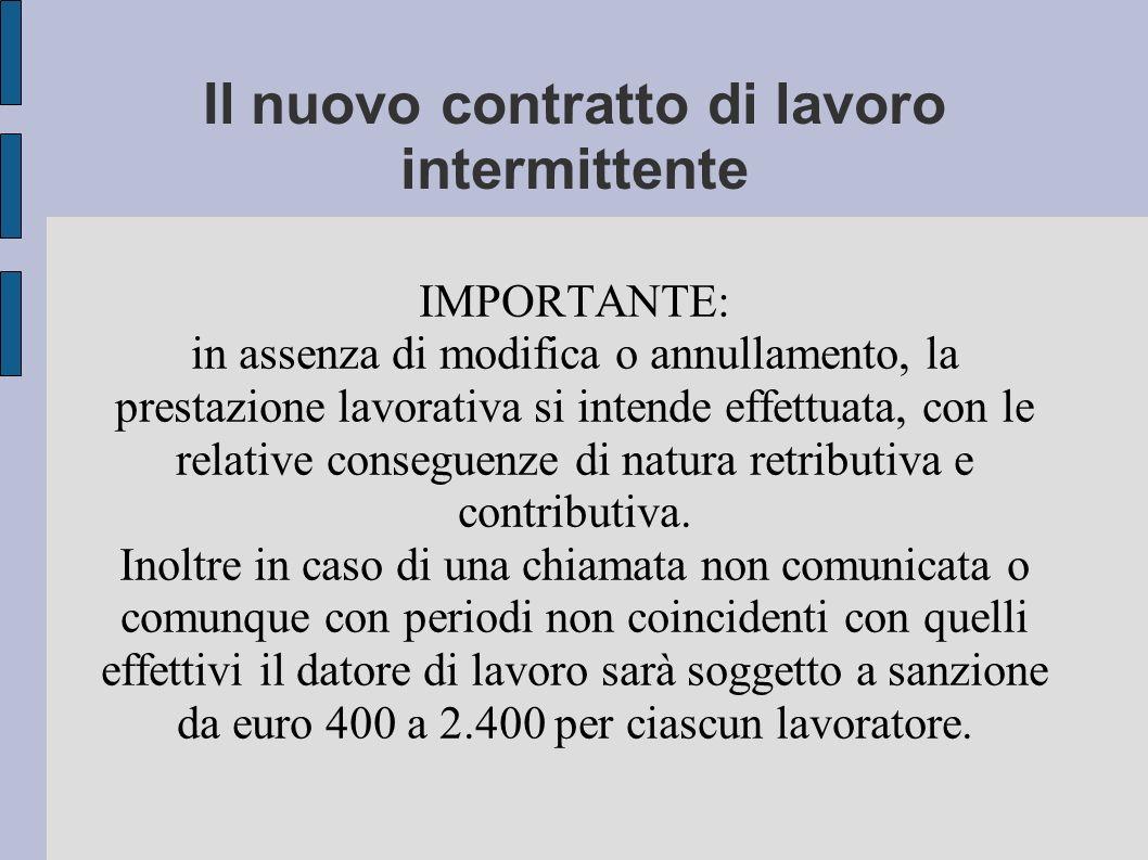 Il nuovo contratto di lavoro intermittente IMPORTANTE: in assenza di modifica o annullamento, la prestazione lavorativa si intende effettuata, con le relative conseguenze di natura retributiva e contributiva.