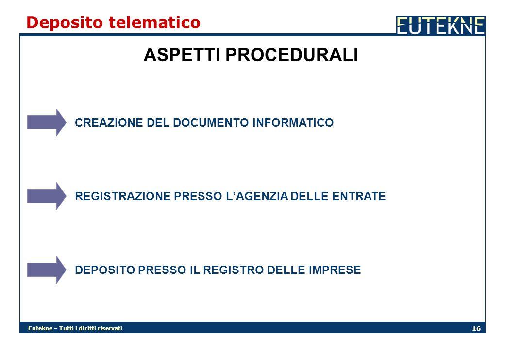 Eutekne – Tutti i diritti riservati 16 Deposito telematico ASPETTI PROCEDURALI CREAZIONE DEL DOCUMENTO INFORMATICO REGISTRAZIONE PRESSO LAGENZIA DELLE