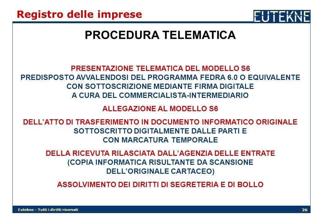 Eutekne – Tutti i diritti riservati 26 Registro delle imprese PROCEDURA TELEMATICA PRESENTAZIONE TELEMATICA DEL MODELLO S6 PREDISPOSTO AVVALENDOSI DEL