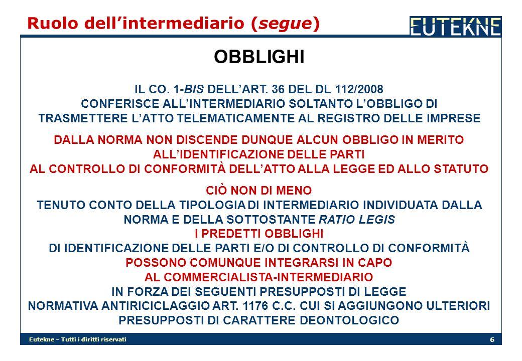 Eutekne – Tutti i diritti riservati 6 Ruolo dellintermediario (segue) OBBLIGHI IL CO. 1-BIS DELLART. 36 DEL DL 112/2008 CONFERISCE ALLINTERMEDIARIO SO
