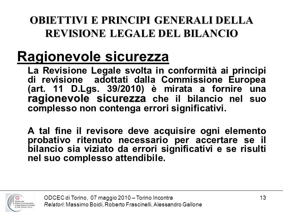 ODCEC di Torino, 07 maggio 2010 – Torino Incontra Relatori: Massimo Boidi, Roberto Frascinelli, Alessandro Gallone 13 OBIETTIVI E PRINCIPI GENERALI DE