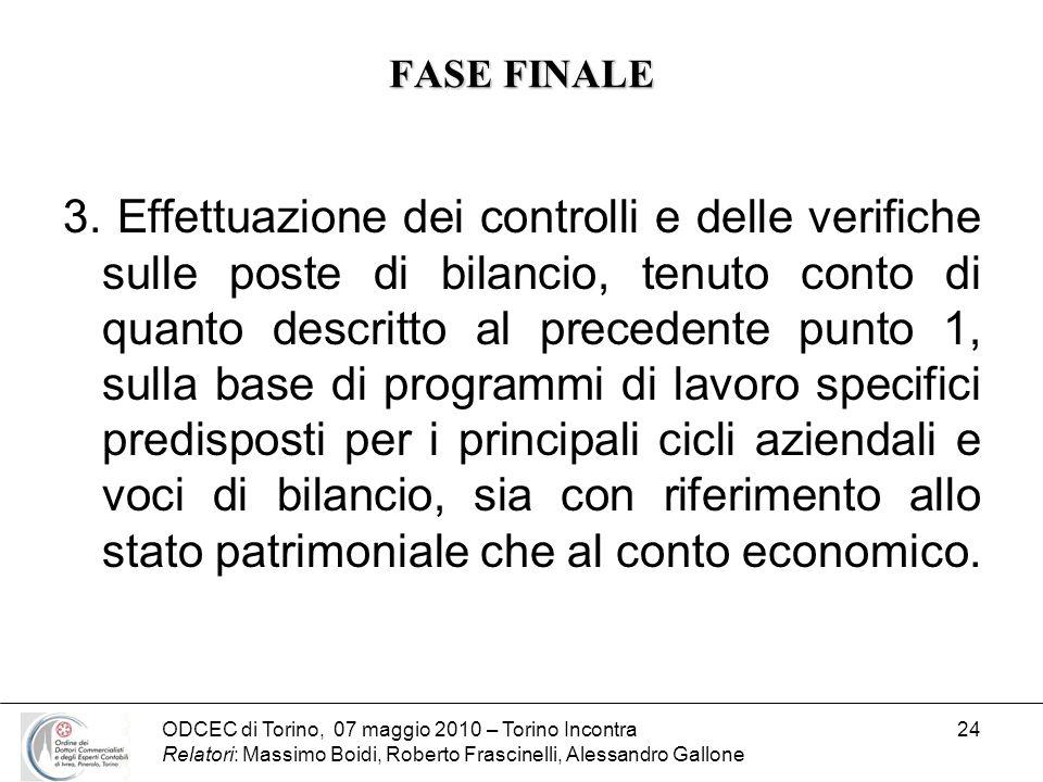 ODCEC di Torino, 07 maggio 2010 – Torino Incontra Relatori: Massimo Boidi, Roberto Frascinelli, Alessandro Gallone 24 FASE FINALE 3. Effettuazione dei