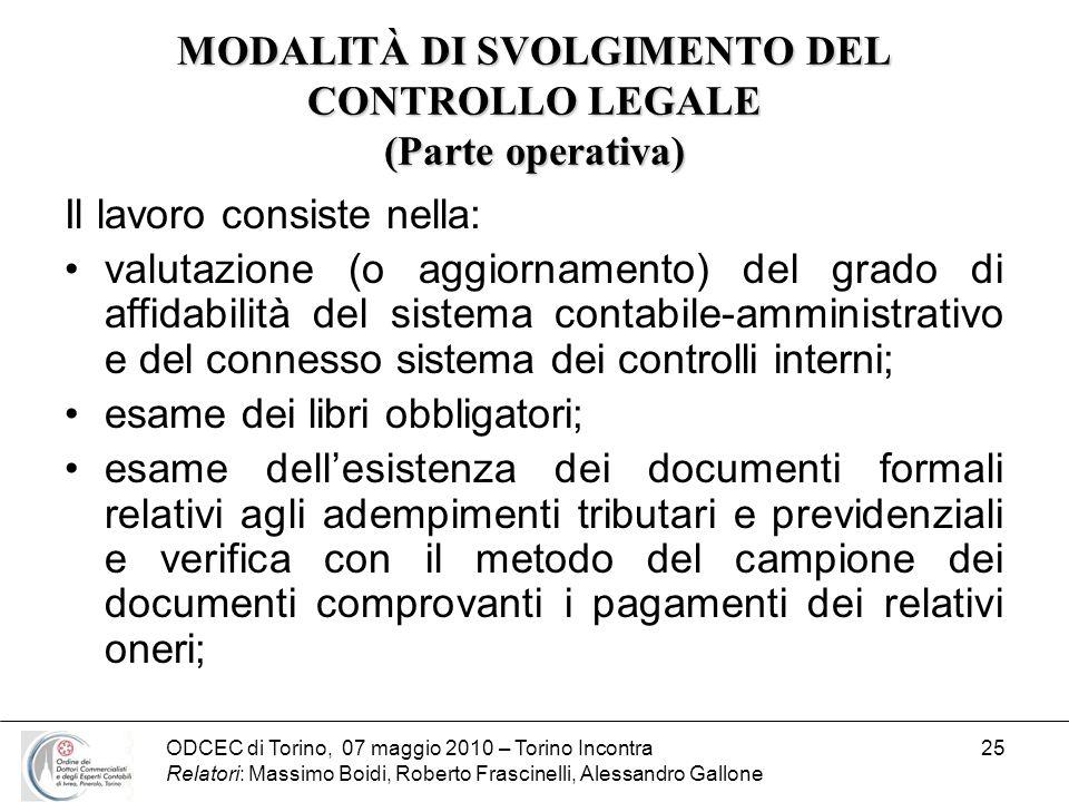 ODCEC di Torino, 07 maggio 2010 – Torino Incontra Relatori: Massimo Boidi, Roberto Frascinelli, Alessandro Gallone 25 MODALITÀ DI SVOLGIMENTO DEL CONT