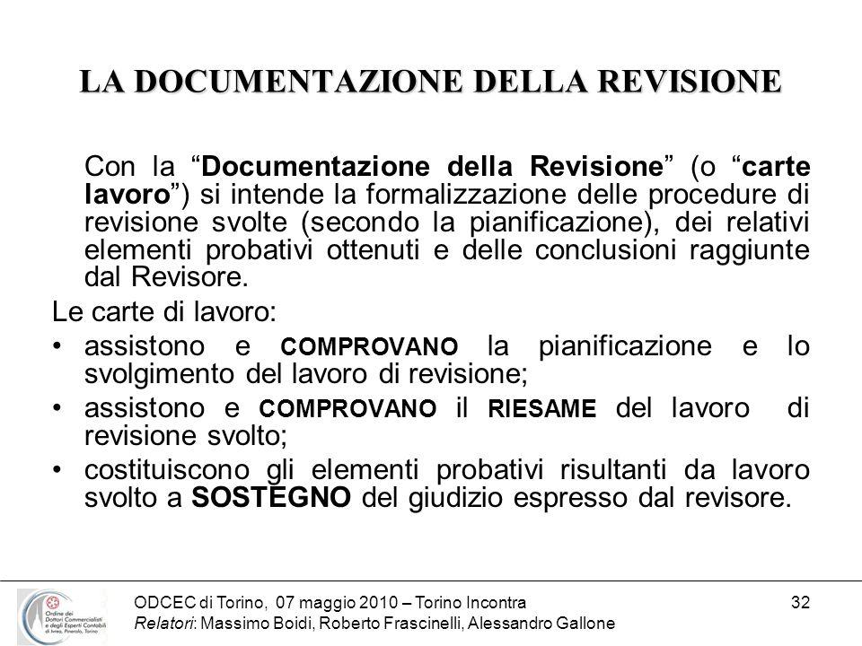 ODCEC di Torino, 07 maggio 2010 – Torino Incontra Relatori: Massimo Boidi, Roberto Frascinelli, Alessandro Gallone 32 LA DOCUMENTAZIONE DELLA REVISION